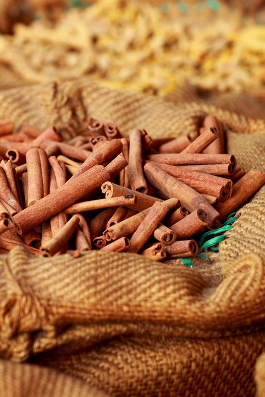 cinnamon sticks in burlap bag