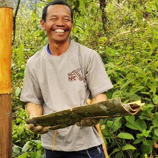smiling cinnamon farmer